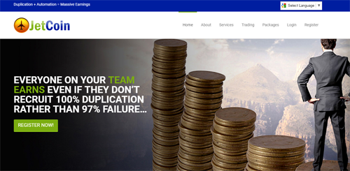 screenshot from the jetcoin website